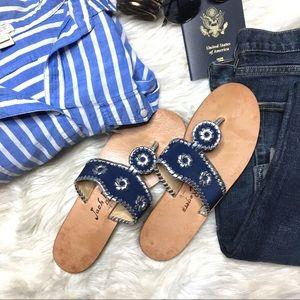 JACK ROGERS Midnight Silver Flip Flop Sandals